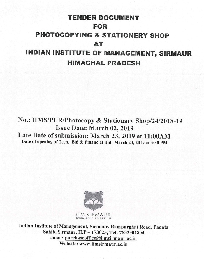 Tender Notices | IIM Sirmaur | Himachal Pradesh | India