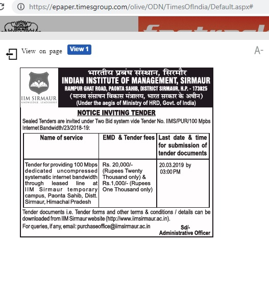 TIMES OF INDIA ENGLISH NEWS PAPER PDF - Tender - 100 Mbps
